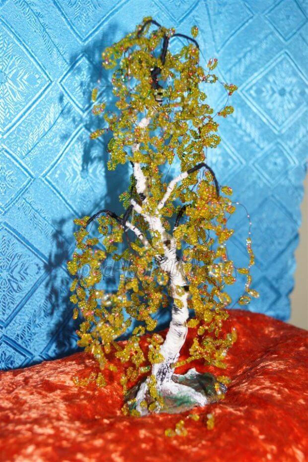 Золотое дерево из бисера