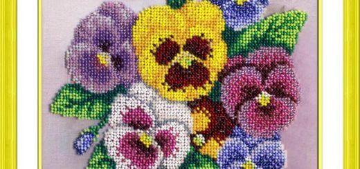 вышивка цветов бисером